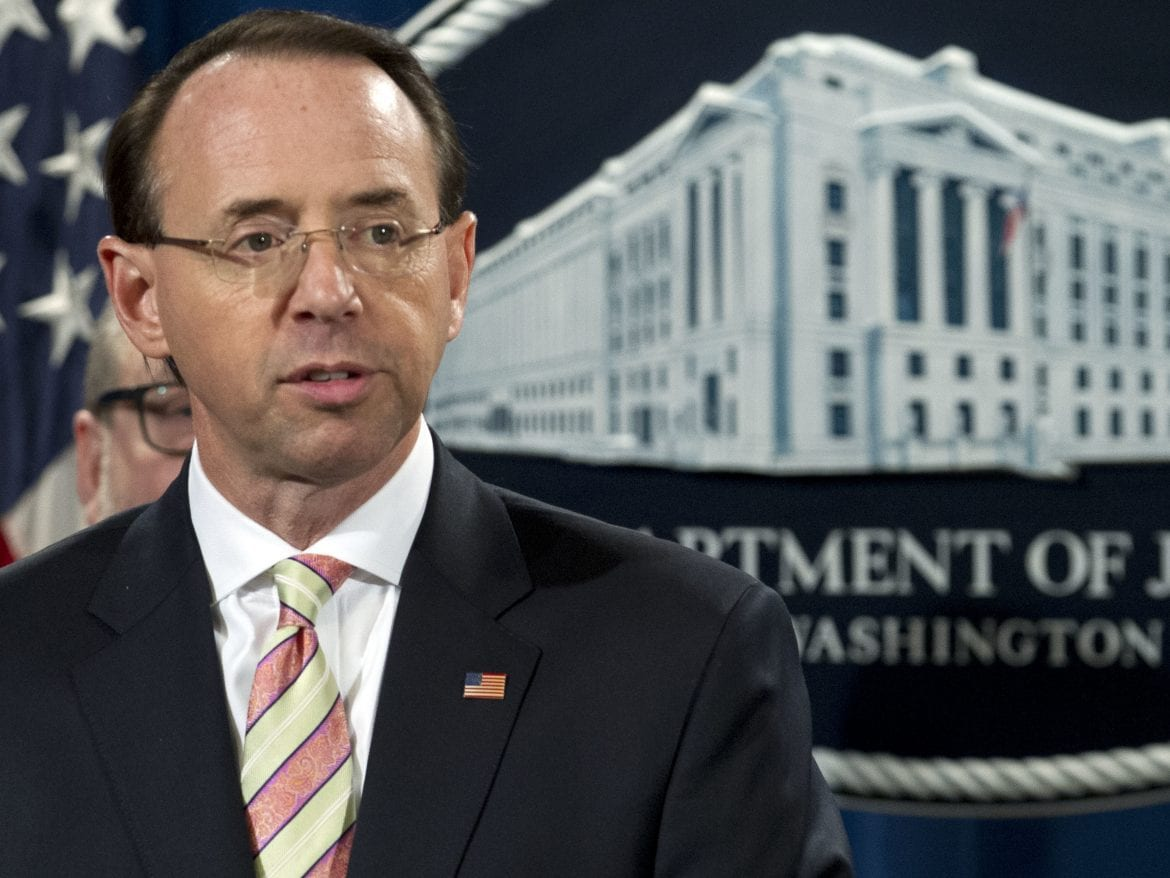 Deputy Attorney General Rod Rosenstein was among those at the Justice Department who announced charges against Chinese cyber-attackers on Thursday. It could escalate tensions between the great powers.