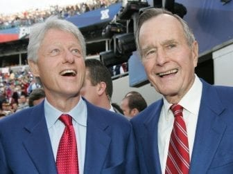 Former Presidents Bill Clinton and George H.W. Bush attend at the 2005 Super Bowl pregame show in Jacksonville, Fla. The former political rivals became good friends in their post-presidencies.