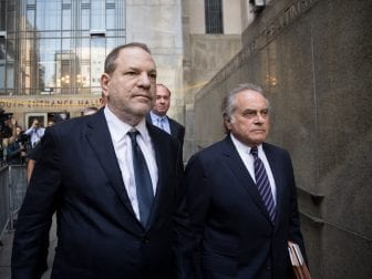 Harvey Weinstein and attorney Benjamin Brafman exit State Supreme Court on June 5 in New York City. Weinstein pleaded not guilty on two counts of rape and one count of a criminal sexual act.