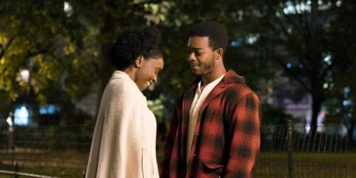 Shining Like Moonlight: Tish (KiKi Layne) and Fonny (Stephan James) share a fleeting moment in Barry Jenkins' If Beale Street Could Talk.