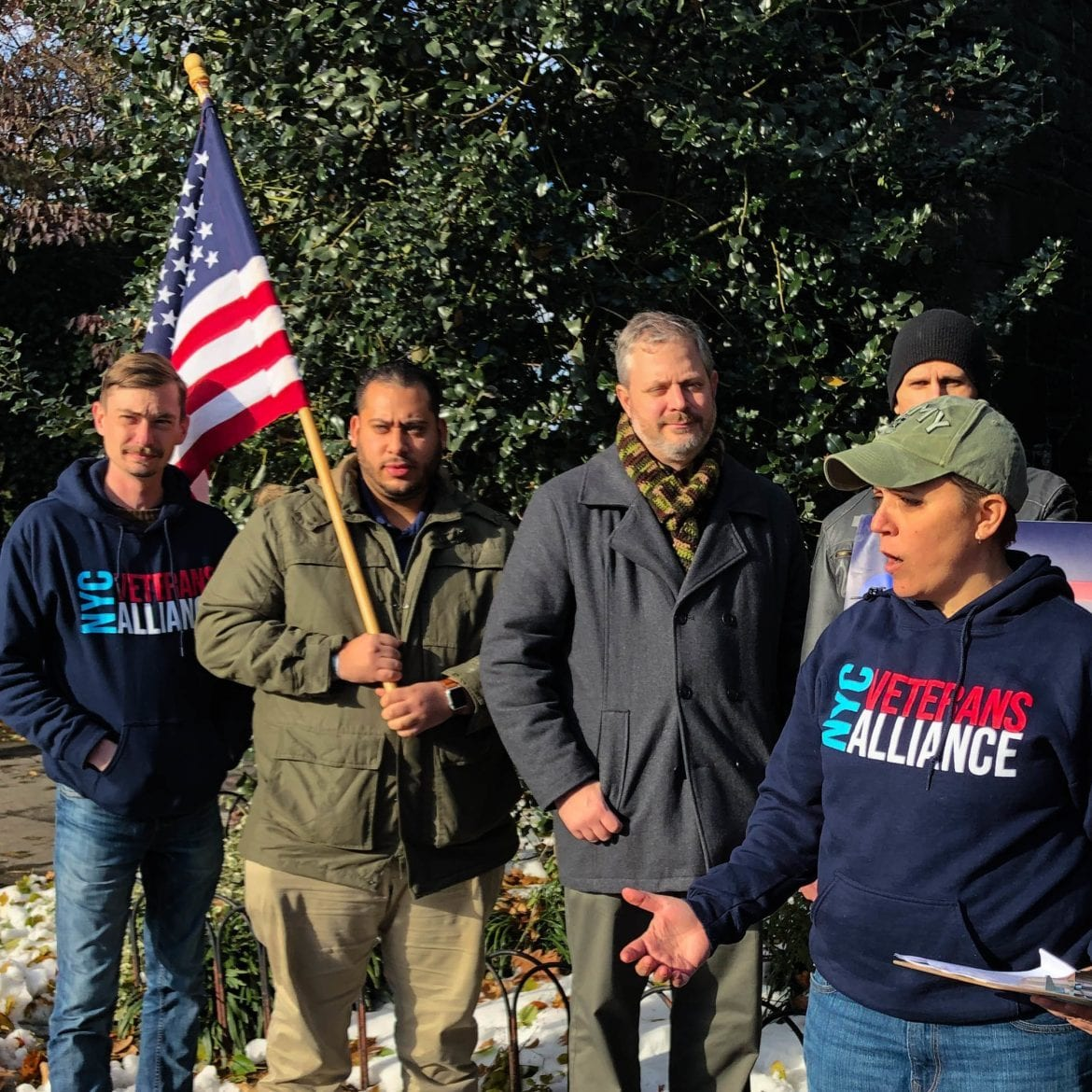 Veterans gather at the site of the 1776 Battle of Fort Washington in Manhattan. They are calling on the VA to rename the Manhattan VA Medical Center in honor of Margaret Corbin, who took her husband's place during the battle after he was killed.