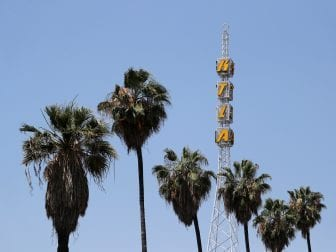 The tower of KTLA is seen in Los Angeles. It's one of 42 TV stations owned by Tribune Media around the U.S.
