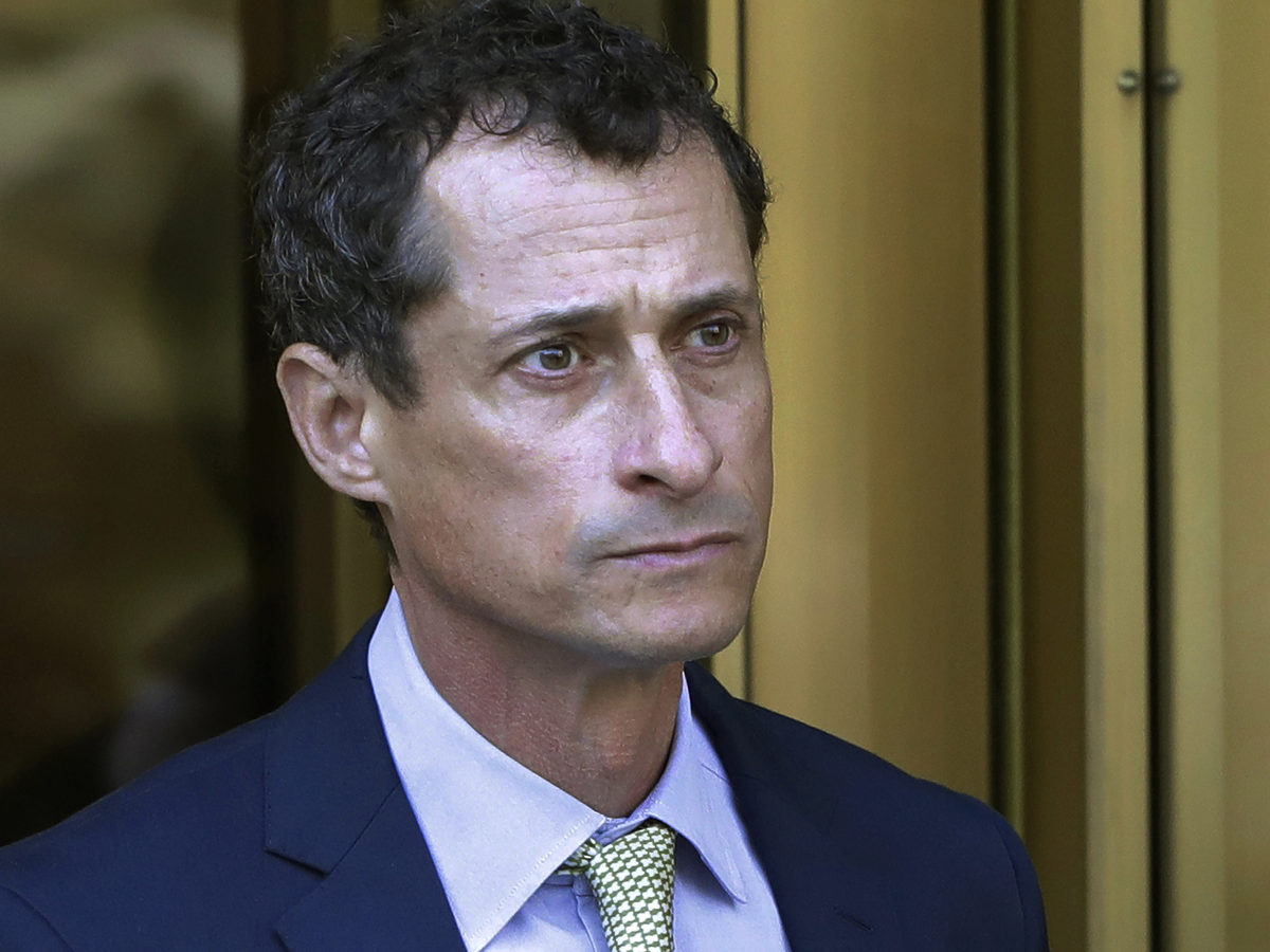In this 2017 photo, former Congressman Anthony Weiner leaves federal court following his sentencing in New York. The New York Democrat has been released from federal prison in Massachusetts.