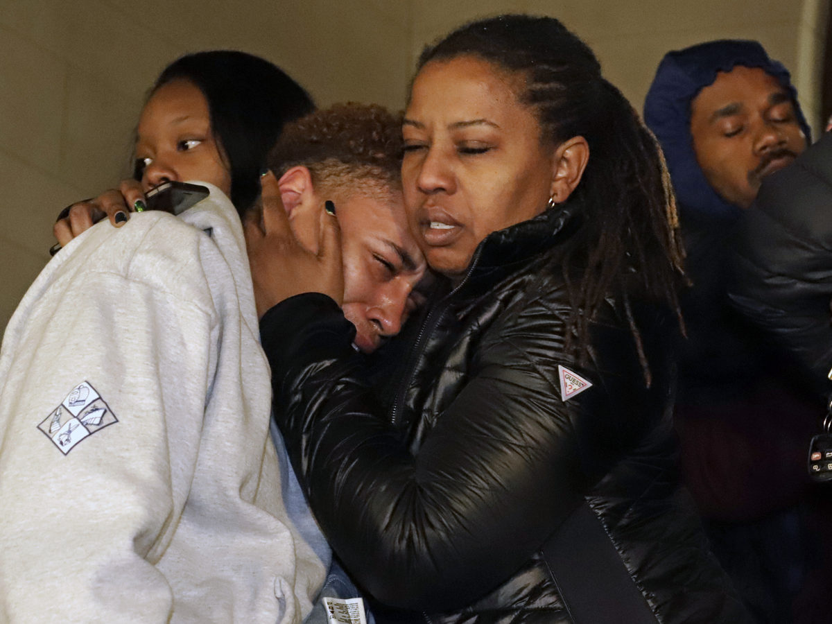 Supporters of Antwon Rose II, leave the courthouse after hearing the verdict of not guilty for Michael Rosfeld, a former police officer in East Pittsburgh, Pa.