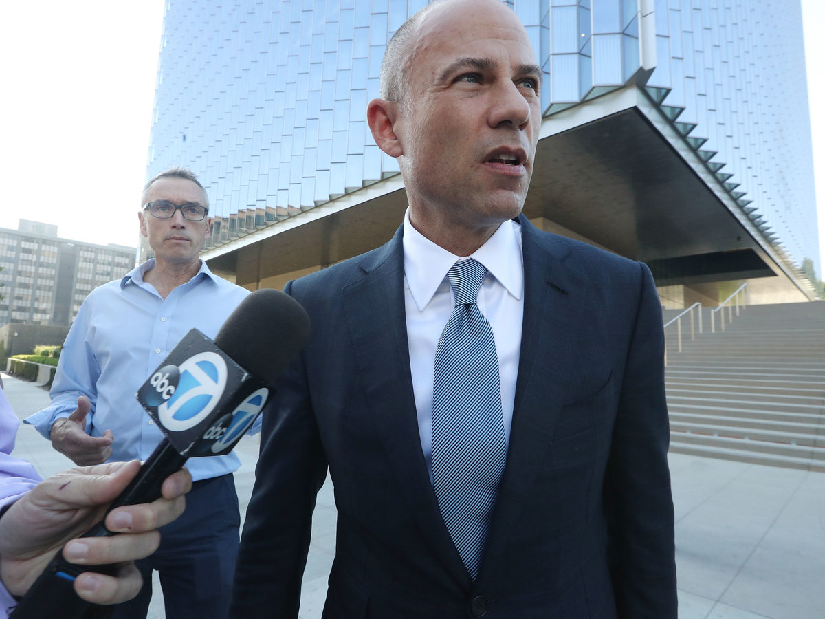 Michael Avenatti, attorney for Stephanie Clifford, speaks to reporters as he leaves the U.S. District Court for the Central District of California on Sept. 24, 2018, in Los Angeles. Avenatti has been arrested on federal charges.