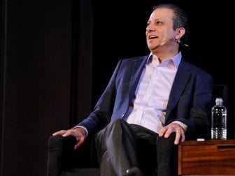 Former U.S. Attorney Preet Bharara talks with The New Yorker's Jeffrey Toobin at New York Society for Ethical Culture on Oct. 7, 2017 in New York City.