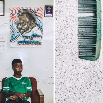 Left: Ga'verri Jones-Collins, Charleston's grandson, 10, sits for a portrait below an air-brush painting of his great grandfather. Right: A comb Carlton and Juanita purchased in South of The Border, South Carolina, while traveling.