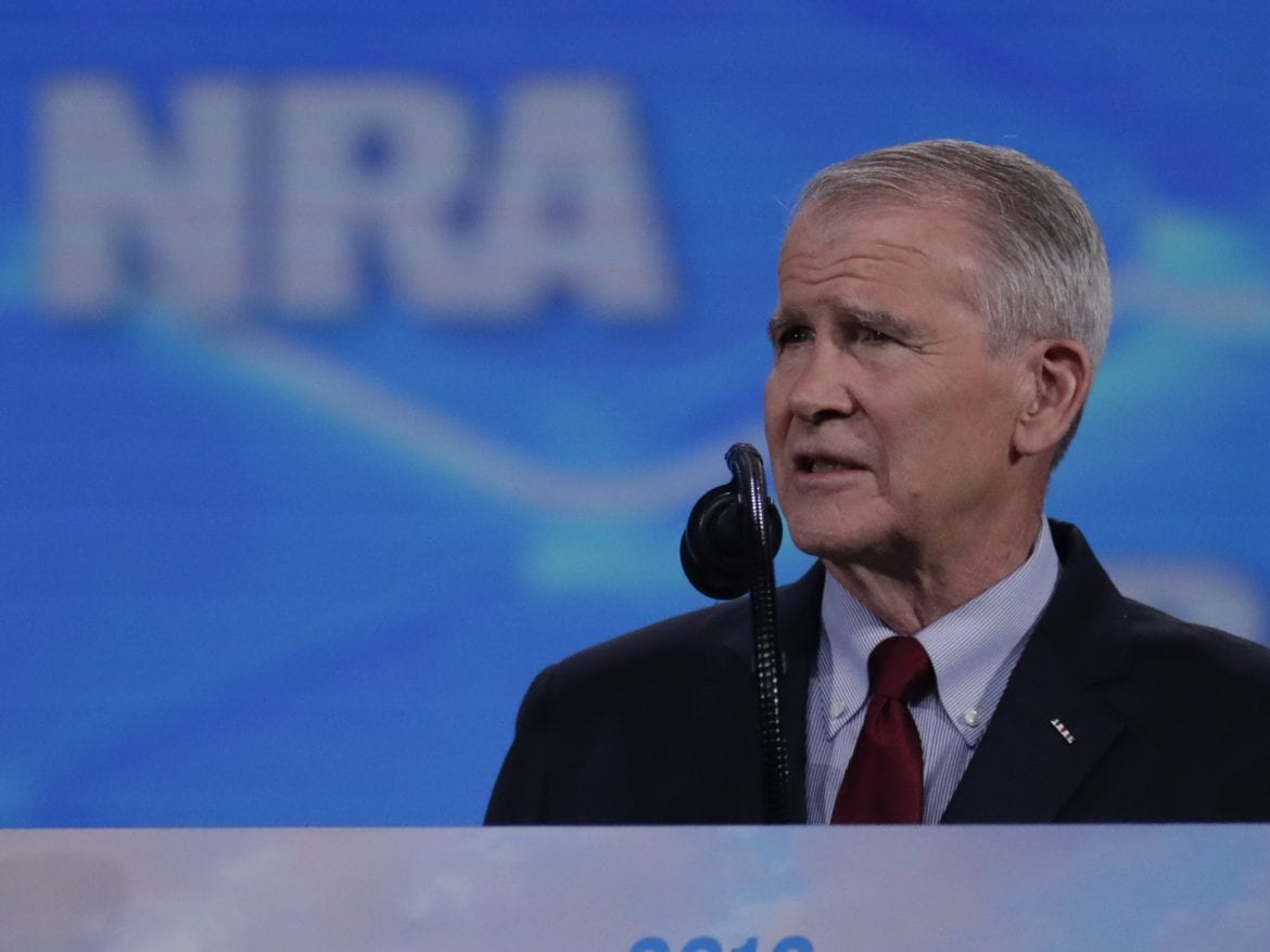 Oliver North speaks at the National Rifle Association Institute for Legislative Action Leadership Forum at Lucas Oil Stadium in Indianapolis on Friday.