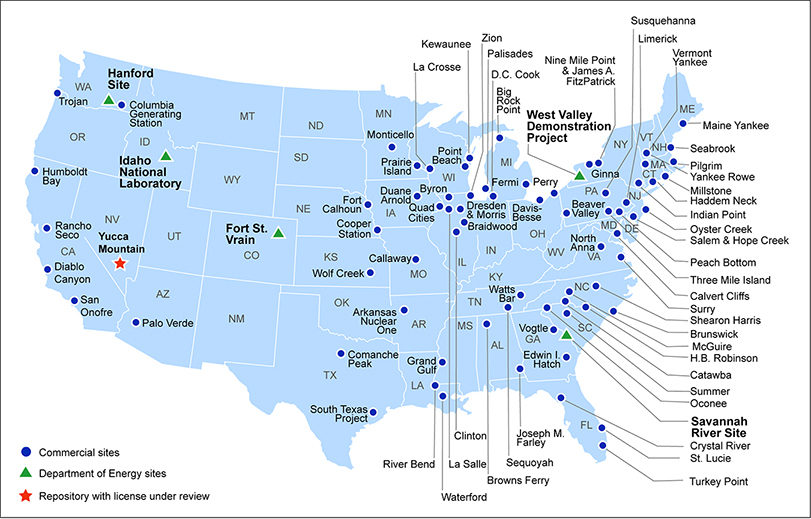 A map of current storage sites for high-level radioactive waste and spent nuclear fuel in the U.S.