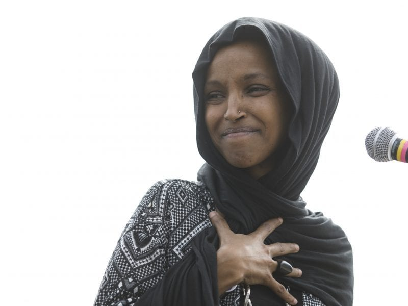 Rep. Ilhan Omar, D-Minn., attends a Youth Climate Strike on March 15 in Washington. On Thursday, the New York Post drew criticism after featuring a partial quote by Omar with an image from the Sept. 11, 2001, terrorist attacks.