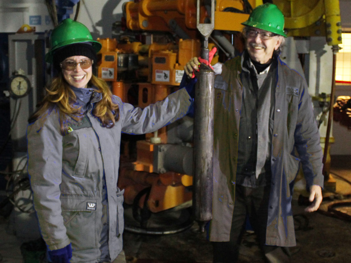 Deep Isolation CEO Elizabeth Muller and her father Richard Muller after the company successfully inserted and then retrieved a canister from a deep bore hole in 2018.