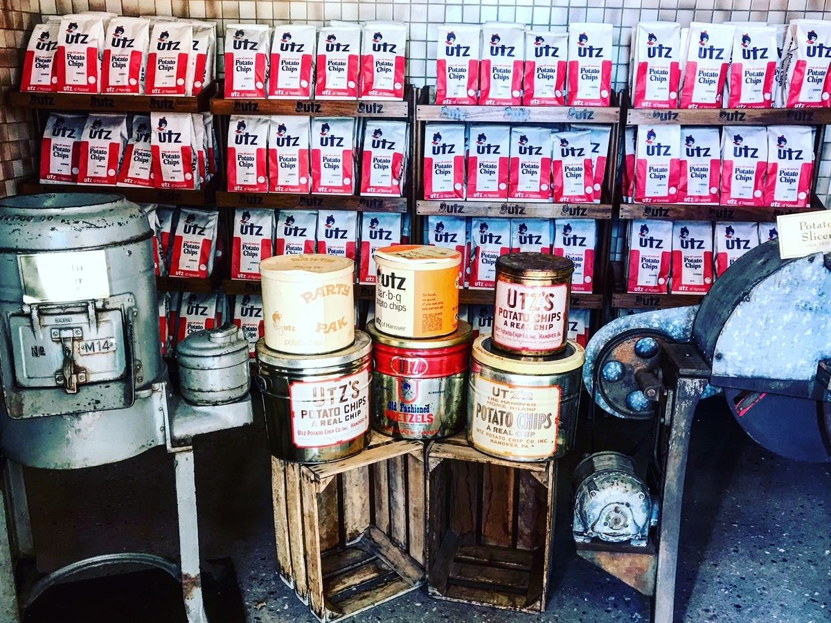 On display during the Utz factory tour is an array of the company's products and equipment circa 1930s.