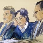 In this courtroom artist's sketch, defendant Keith Raniere (center) sits with his attorneys, Paul DerOhannesian (left) and Marc Agnifilo during closing arguments Tuesday in federal court in Brooklyn, N.Y.