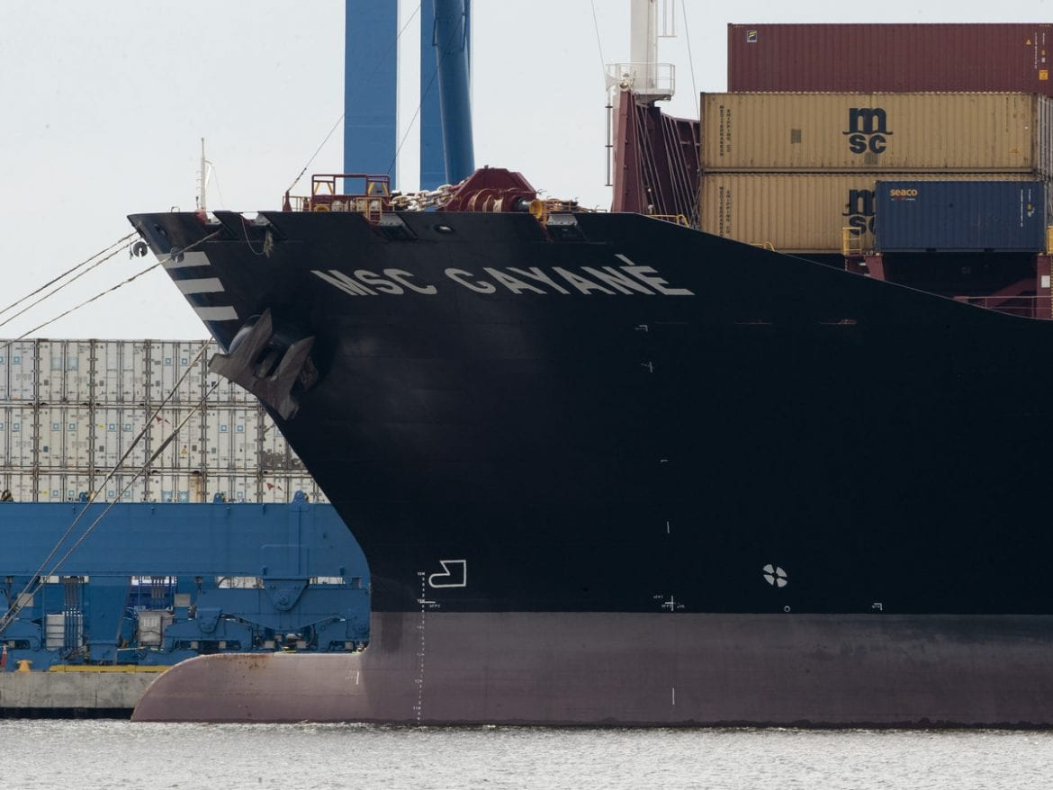The container ship MSC Gayane on the Delaware River in Philadelphia, on Tuesday. U.S. authorities have seized more than $1 billion worth of cocaine from a ship, reportedly the Gayane, at a Philadelphia port.