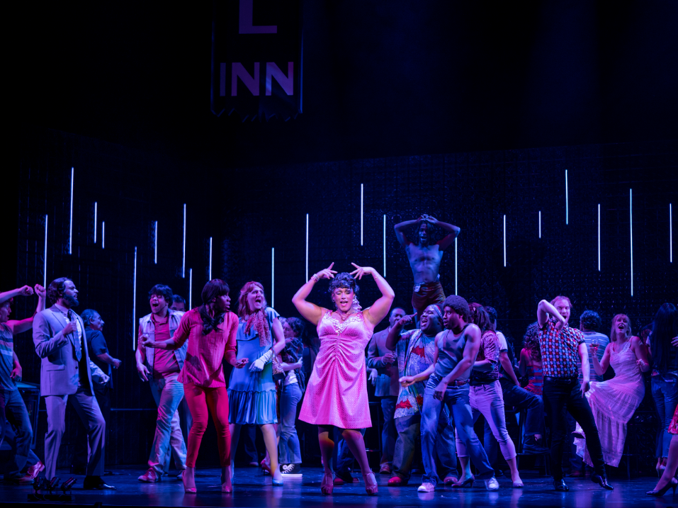 Jordan Weatherston Pitts (center) sings the role of Renata, the drag queen, with the company of New York City Opera's Stonewall.