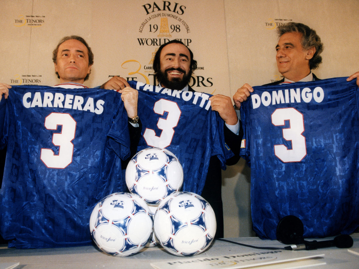 Luciano Pavarotti's fame only increased after the advent of The Three Tenors, pictured here at the 1998 World Cup in France. (From left, José Carreras, Luciano Pavarotti and Plácido Domingo.)