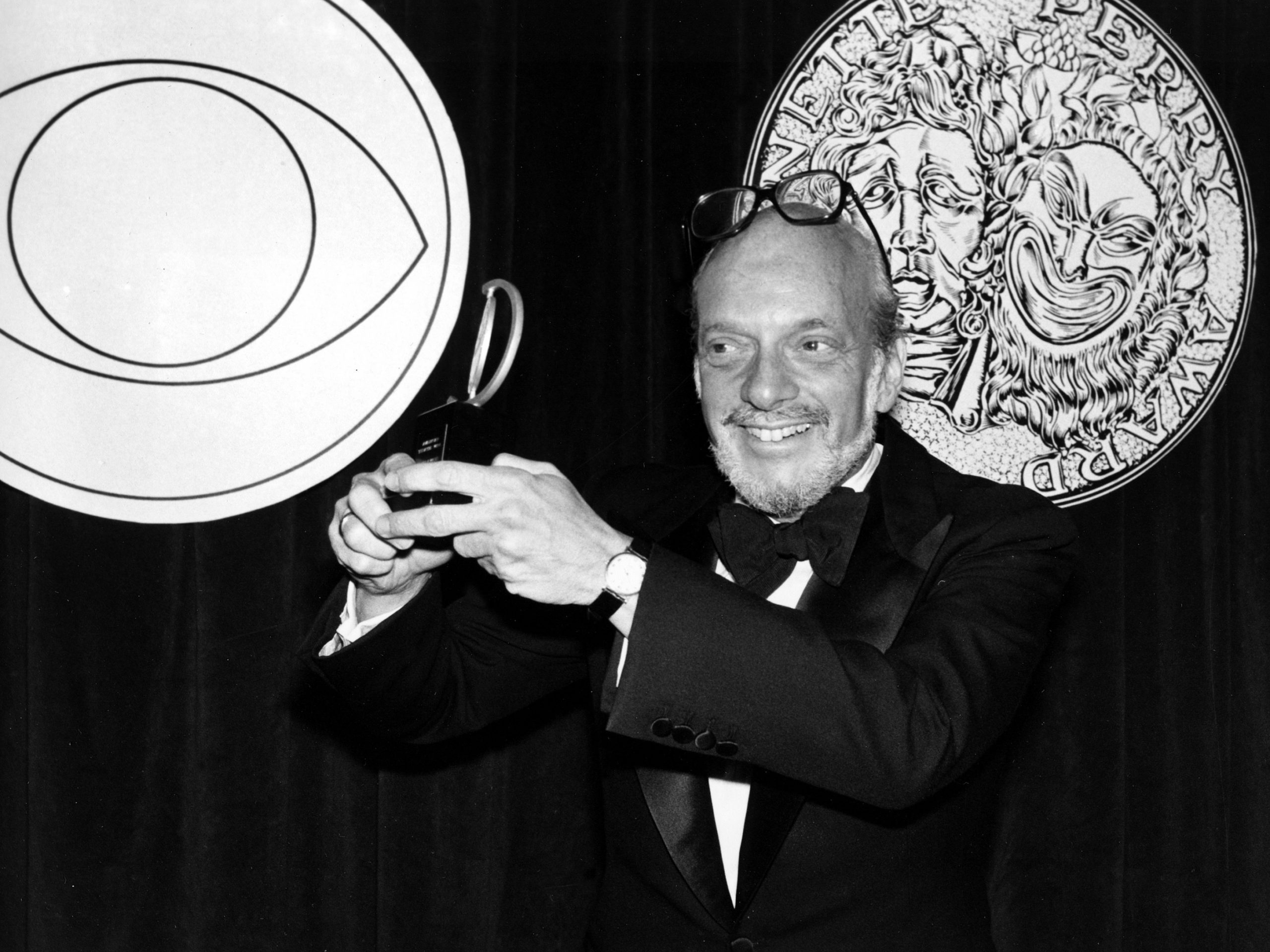 Harold Prince poses with his Tony Award for best direction of a musical in 1980. He earned the honor for his work on Evita.