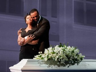 Briana Hunter as The Mother and Kenneth Kellogg as The Father in the 2019 premiere of Jeanine Tesori and Tazewell Thompson's Blue.