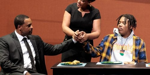 Kenneth Kellogg, Briana Hunter and Aaron Crouch play The Father, The Mother and The Son in the world premiere of Blue at the 2019 Glimmerglass Festival.
