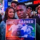 Members of Black Lives Matter of Greater New York and allies hold a protest rally last month in New York City's Times Square demanding justice for Eric Garner, who died after he was put in a chokehold by an NYPD officer in 2014.