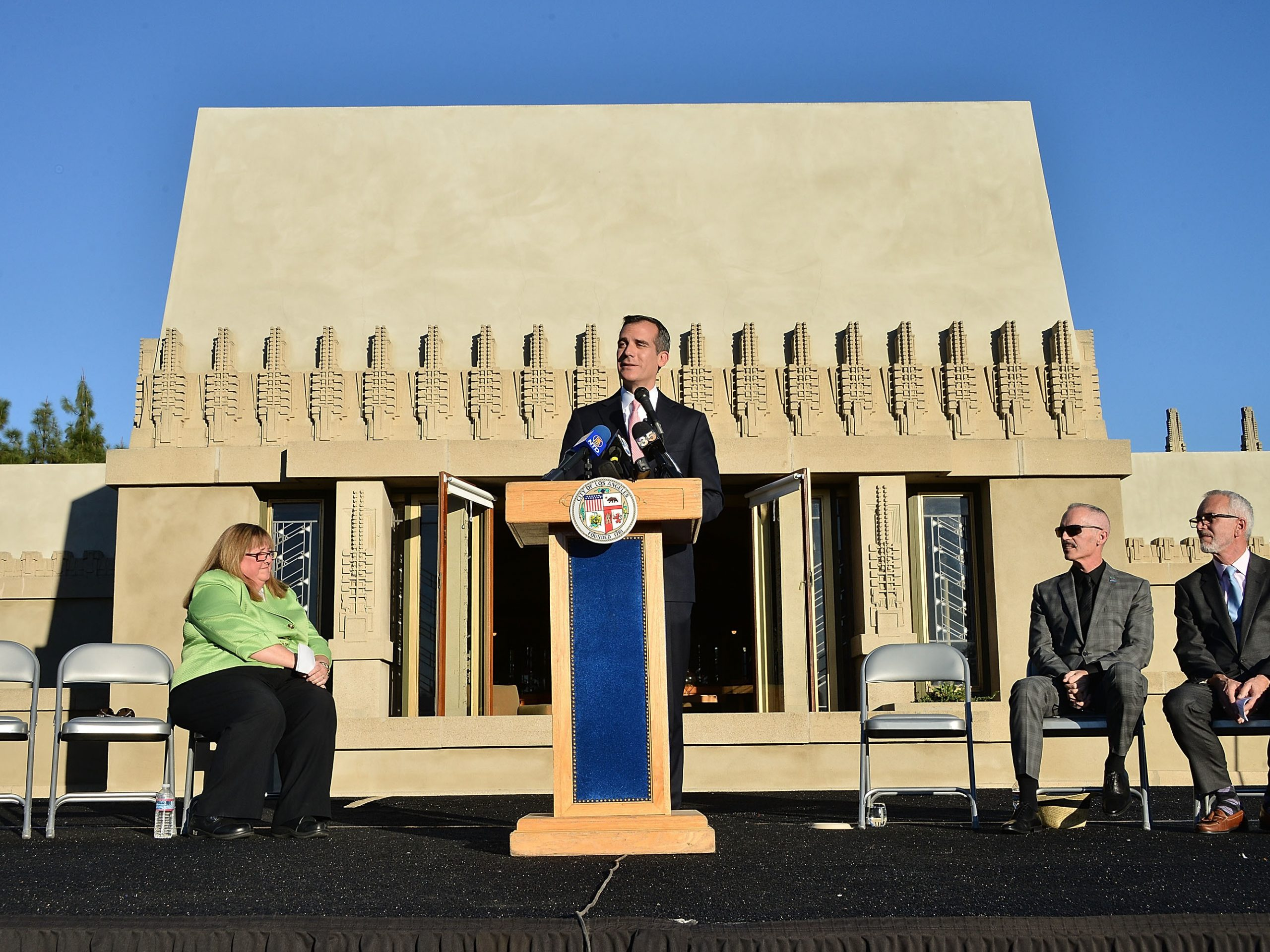 Los Angeles Mayor Eric Garcetti attends the ribbon-cutting ceremony for the re-opening of The Frank Lloyd Wright Hollyhock House on Feb. 13, 2015.