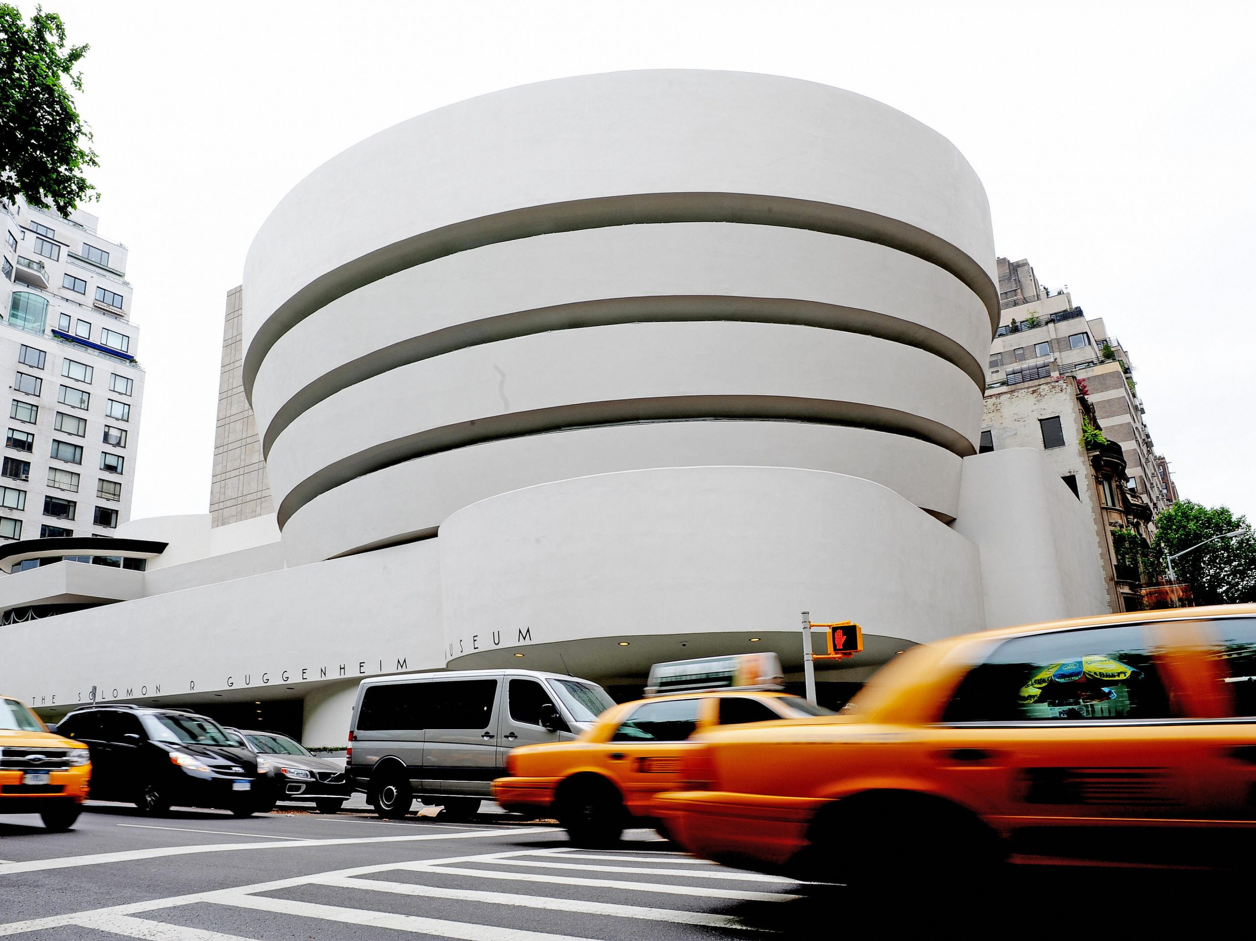 """The Guggenheim Museum, designed by Frank Lloyd Wright who developed the concept of """"organic architecture,"""" that a building should develop out of its surroundings."""