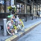Eight people have been killed in New York while riding their bikes since June, bringing the total number of deaths so far this year to 19. Above a memorial to one of the cyclists killed, Robyn Hightman.