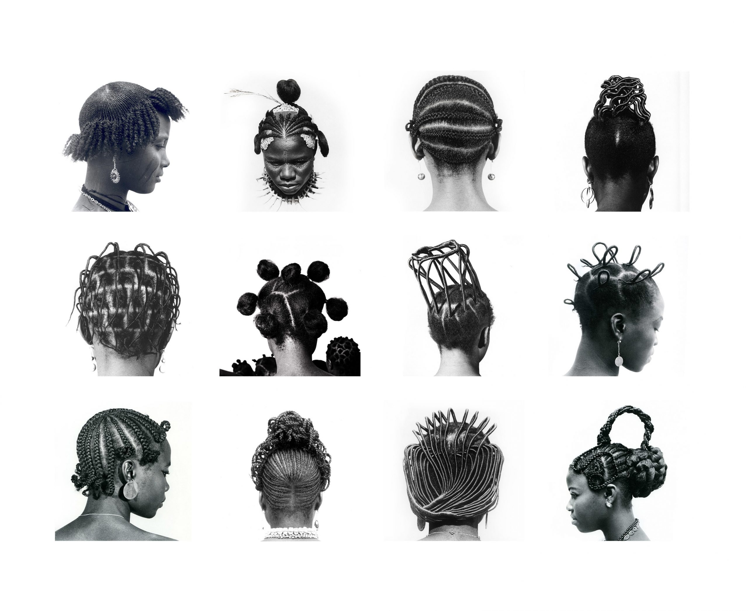 The 12 prints from the series Hairstyles by Nigerian photographer J.D. 'Okhai Ojeikere (1930-2014) show women coiffed in elaborate styles both traditional and of the moment, their similarities and differences seeming to blend together.