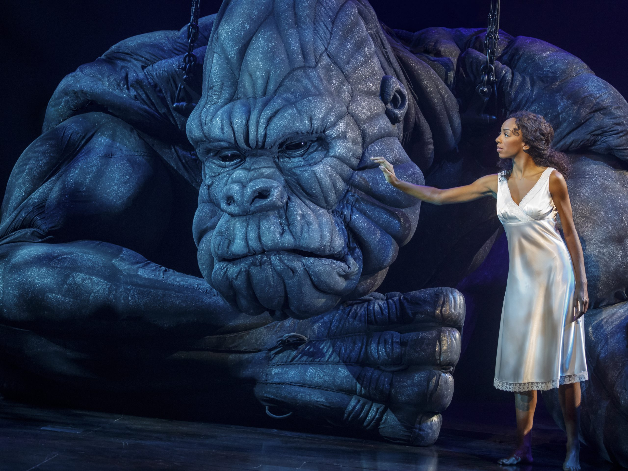 The musical King Kong, which stars Christiani Pitts alongside a giant ape puppet, will end its run Aug. 18.