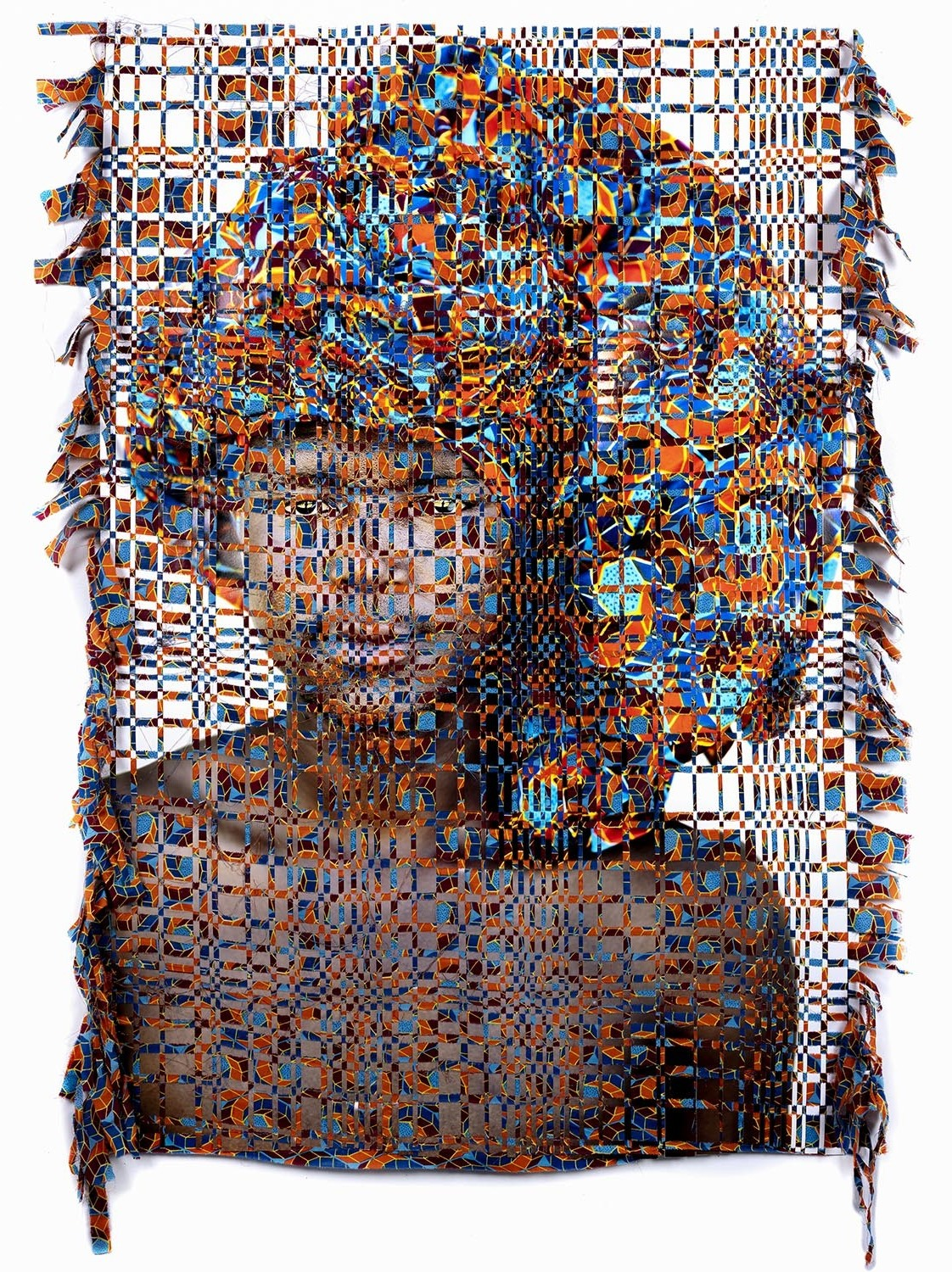 Kyle Meyer, born in Ohio in 1985, combines photography with woven tapestry techniques inspired by traditional African crafts to explore the nature of closeted LGBT identity in this work from his series Unidentified.