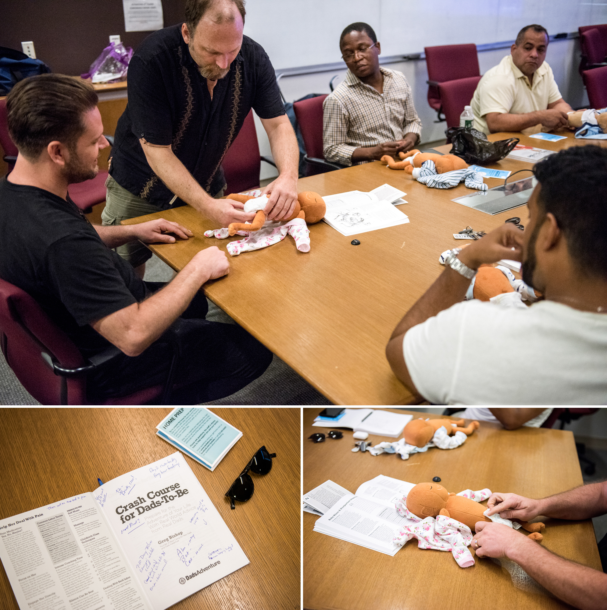 Dads-to-be learn how to change diapers in the workshop for and by men, at the New York Langone Medical Center. Participants say they appreciate the combination of concrete skills and candid advice from other fathers.