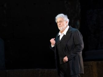 Opera star Placido Domingo, 78, rehearsing onstage in Orange, France in July.