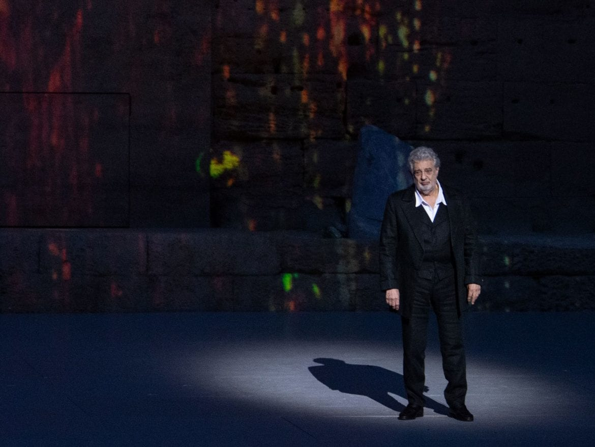 Plácido Domingo on stage in July. Domingo was scheduled to perform at New York's Metropolitan Opera on Wednesday but withdrew following accusations of harassment.