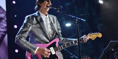 Ric Ocasek of The Cars, performing at the group's induction ceremony into the Rock & Roll Hall of Fame in 2018. Ocasek died Sunday.