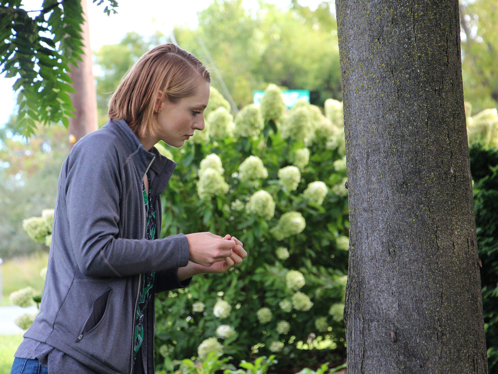 """Heather Leach, an entomologist with Penn State University, is assigned to answer lanternfly questions. """"All I do is breathe, eat, sleep, lanternflies,"""" she says."""