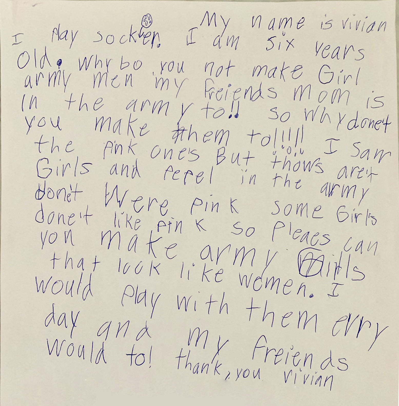 The letter that six-year-old Vivian Lord wrote to BMC Toys this summer wondering why the company did not feature women among its little green solider figurines.