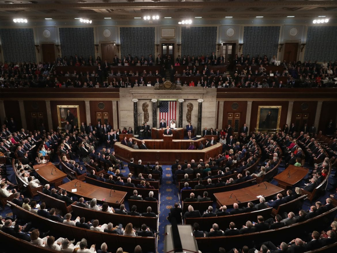 President Trump delivers the State of the Union address in the chamber of the U.S. House of Representatives on Feb. 5.