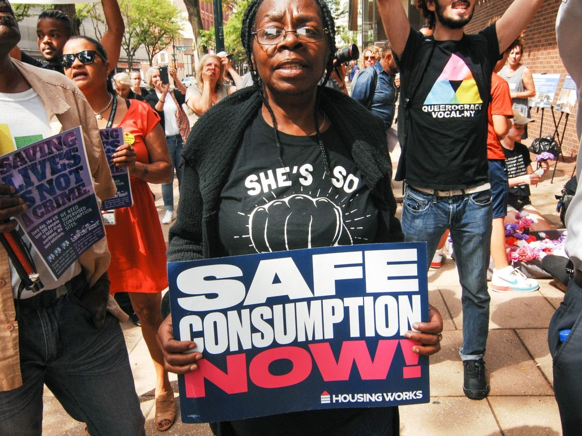 Advocates for safe injection sites rallied in front of the James A Byrne Federal Courthouse in Center City to show their support for evidence-based harm reduction policies, an end to the dehumanization of people suffering from addiction and the opening of Safehouse a safe injection site in Philadelphia, PA on September 5, 2019.