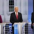 Democratic presidential candidates Sen. Elizabeth Warren, former Vice President Joe Biden and Sen. Bernie Sanders participate in the November Democratic presidential primary debate.