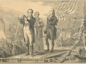 DeWitt Clinton pours water from Lake Erie into the Atlantic Ocean after completion of the Erie Canal.