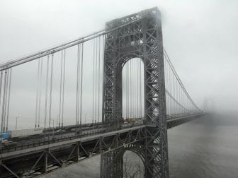 Traffic crosses the George Washington Bridge in Fort Lee, N.J.