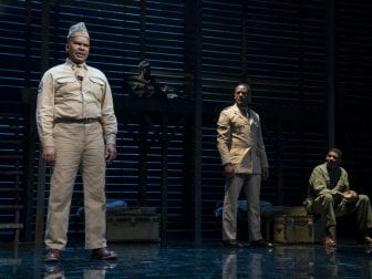 David Alan Grier as Sergeant Vernon C. Waters, Blair Underwood as Captain Richard Davenport and Billy Eugene Jones as Private James Wilkie in A Soldier's Play.