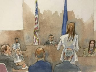In this courtroom sketch, Weinstein (far left) listens as Manhattan Assistant District Attorney Meghan Hast (in white) speaks with witness Mimi Haley during Haley's testimony late last month. Haley testified that Weinstein pushed her onto a bed and sexually assaulted her, despite her kicks and pleas to stop.