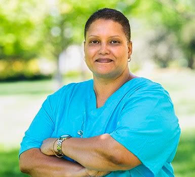 """Home health aide Kim Thomas says she hopes """"North Carolina, South Carolina and some of the southern states ... will see that paying people a minimum wage or paying a livable wage is two separate things."""""""