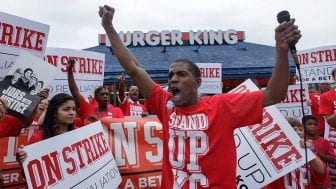 """Walking off the job, you're taking on your boss head-on, and that sounds like some pretty scary stuff, right?"" says fast-food worker Terrence Wise, shown here at a 2013 strike in Kansas City, Mo. ""But I always thought, what am I more afraid of? Taking on my boss or being homeless again with my three little girls?"""