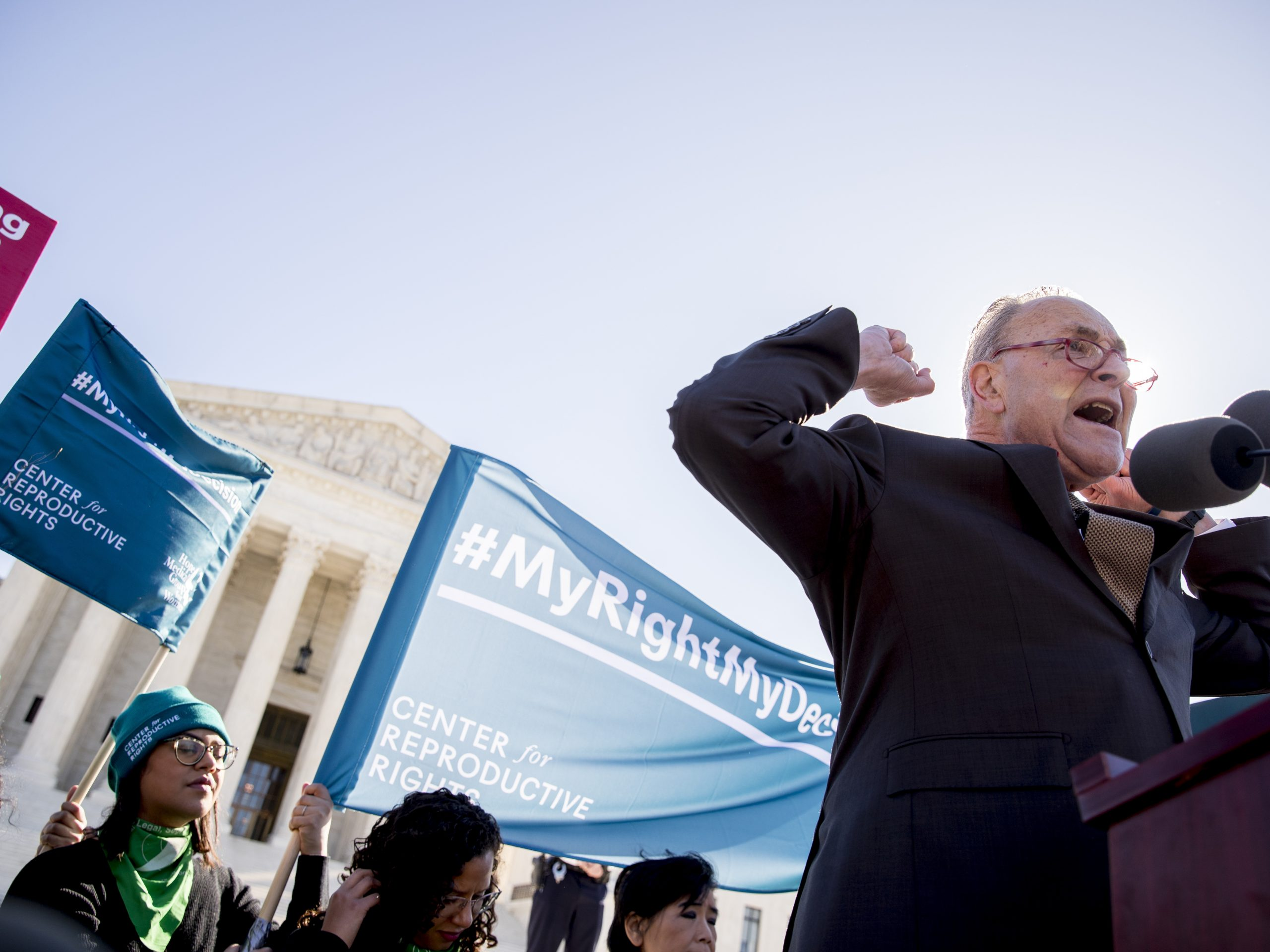 Senate Minority Leader Chuck Schumer is being criticized for comments he made to abortion-rights activists at a rally outside the Supreme Court on Wednesday.