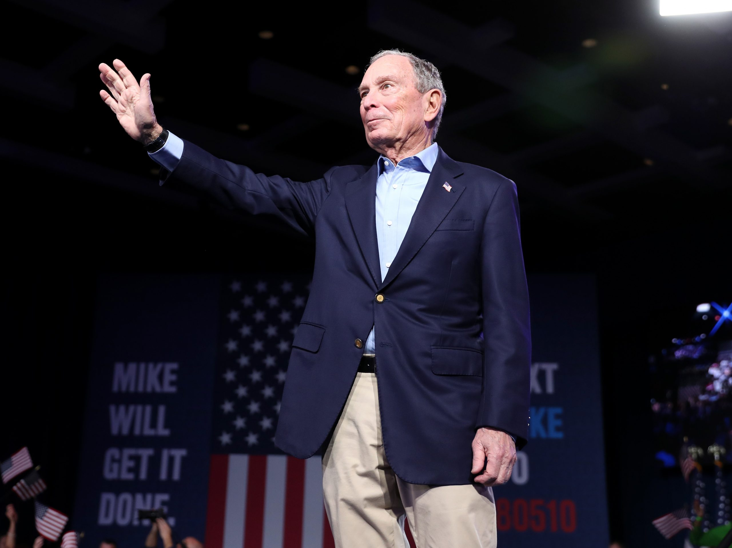 Mike Bloomberg waves to his supporters at his Super Tuesday night event on March 3. Bloomberg dropped out of the Democratic primary race on Wednesday.