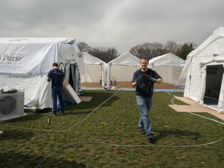Volunteers from the relief organization Samaritan's Purse set up an emergency field hospital in New York's Central Park on Monday.