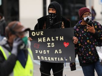 Some Amazon warehouse workers in New York's Staten Island walked off their jobs on Monday, demanding the company shut the facility after several confirmed cases of the coronavirus.