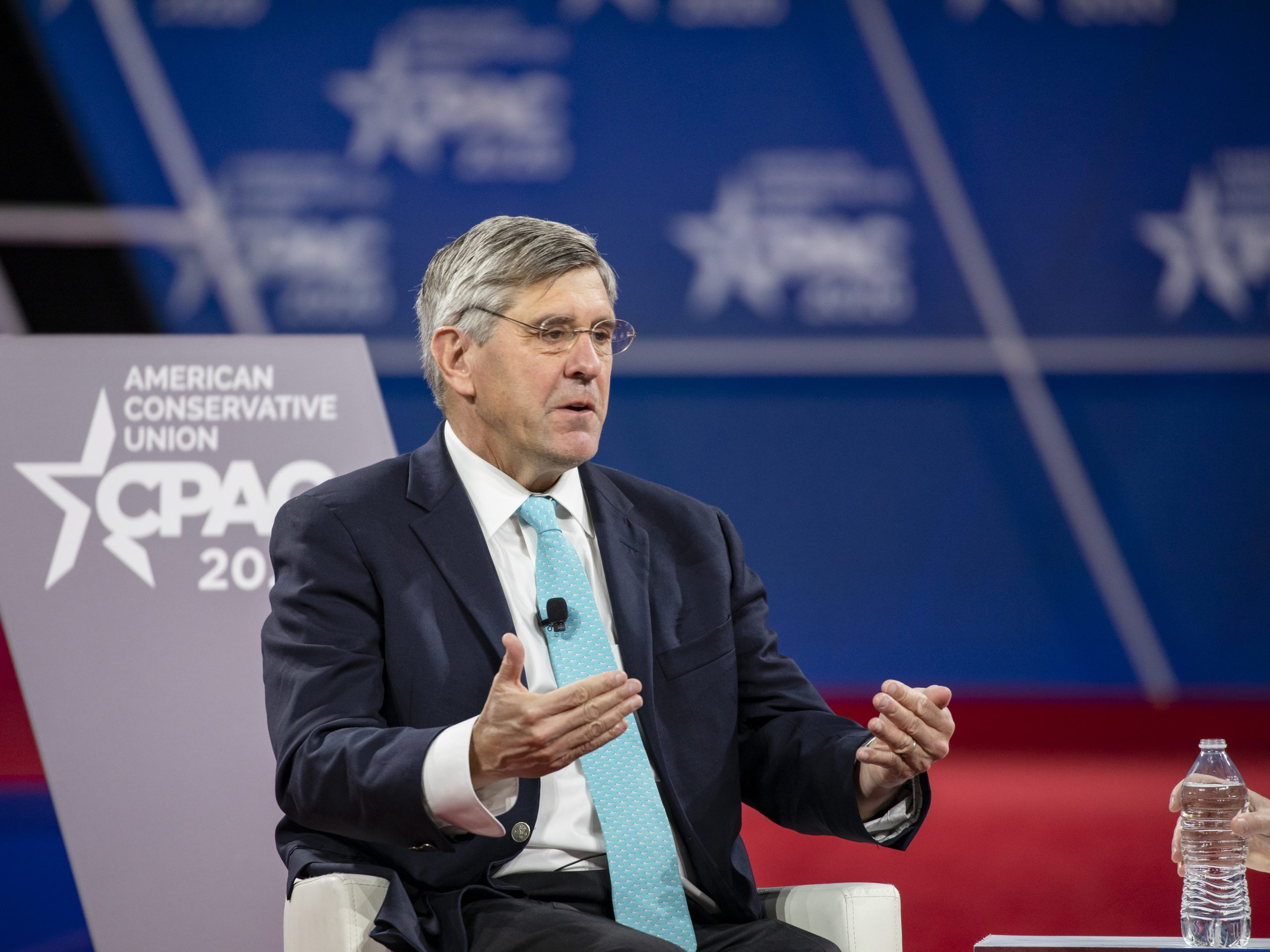 Stephen Moore speaks at the Conservative Political Action Conference on Feb. 28 before health officials shut down large gatherings because of the coronavirus.